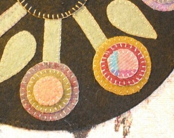 Primitive Penny Rug- Candle Mat - Hand Stitched- Wool