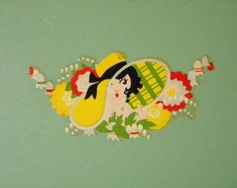 Vintage Jadeite Green Metal Tray with Flapper Girl in Garden