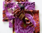 CUSTOM ORDER for amandak141 /  Eight Dinner Napkins – Handmade – Kaffe Fassett fabric – mitered corners – gift giving