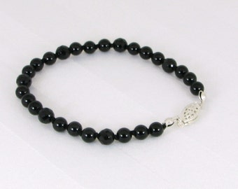 Sparkly Hand-Knotted Black Onyx and Sterling Silver Bracelet