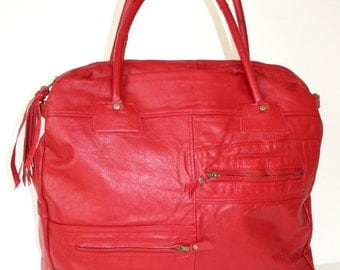 ON SALE Recycled Cherry Red Leather Handbag Tote Large