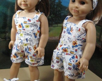 18 Inch Doll Clothes Nautical Romper Outfit