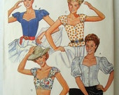 """McCalls 2467 1980s Sweetheart Neckline Blouse, Sleeve Variations, Cropped Top  Size 10 - Bust 32-1/2"""""""