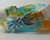 Handcrafted Lilly Pulitzer Via Blue Croissant Fabric Dog Collar- All Sizes- Free Shipping
