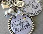 Grandma of Groom gift, Grandma of Bride gift PERSONALIZED keychain, love you to the moon, thank you gift, heart charm, leopard, pink gray