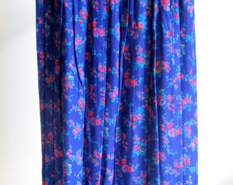 Vintage Night Garden Print Skirt - Navy Blue, Red, Purple, Turquoise and Gold