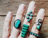 Vintage Zuni Turquoise Ring- women's, sterling, vintage jewelry, 1950s, 5.5