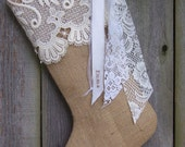 Burlap Christmas Stockings Cotton Lace Country French Farmhouse Chic Personalized Ivory 218