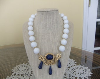 White Jade Beaded Necklace with Vintage Trafari Lapis and Gold Brooch at Center