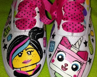 Girl's Custom Painted LEGO MOVIE Inspired Shoes Any Size