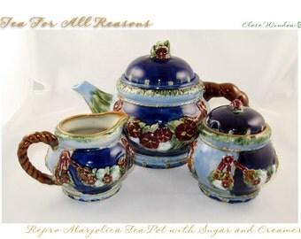 VINTAGE - FALL SALE - Vintage Repro Marjolica Teapot, Sugar and Creamer