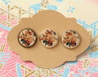 10 pcs handmade flowers - earrings, pendant, ring - 12mm (PW-004)