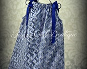 Girls Pillowcase Dress in The Sassari Keys Fabric with Royal Blue Ribbon That Ties Over Both Shoulders