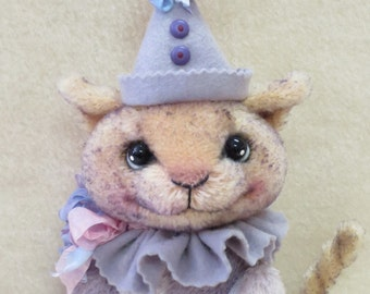 RESERVED Whimsical Free Standing Mohair / Viscose Lavender Kitty Cat By Kim Endlich