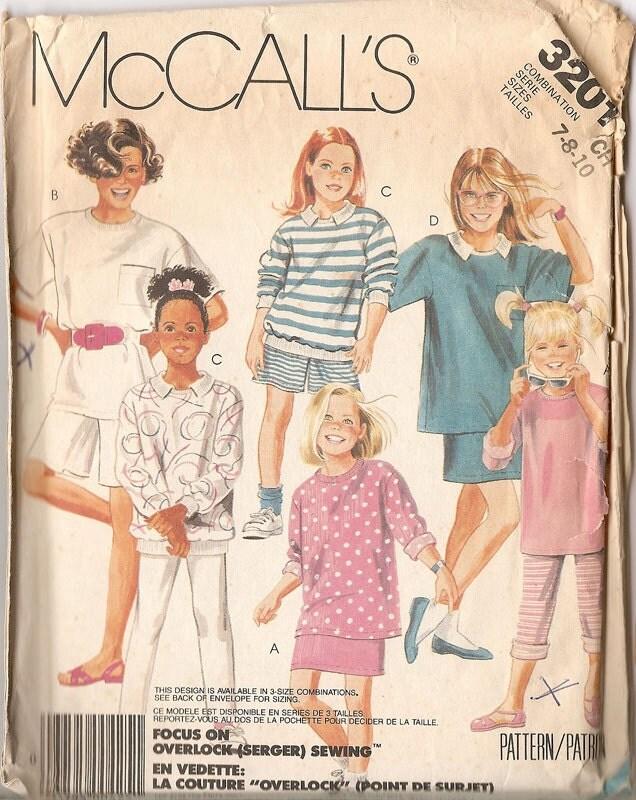 0d3059b3fdfe McCalls 3201 Girls Top Skirt Shorts Pants Pattern Sizes 7-8 from nanastrunk  on Etsy Studio