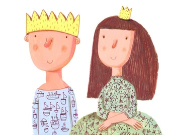 prince and princess  print wall decor, kids room decor, nursery decor