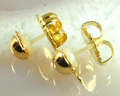 10 Brass and Allergy free Plastic earring posts with nuts