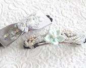 Aqua and lavender barrettes, beaded barrettes, floral barrettes, ponytail holders, fabric barrette, hair accessory, fashion accessory