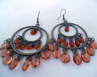 Chandelier Earrings - Glass Acrylic Teardrop Beads - Orange Brown - Brass Metal - Earring Wires - Hippie Style - 60's style - Summer Jewelry