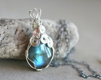 Labradorite Gemstone, Sterling Silver, Wire Wrapped Pendant Necklace, Handmade, Gemstone Jewelry