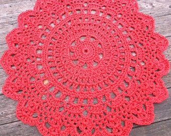 "Red Outdoor Cord Crochet Rug in 35"" LAST ONE"