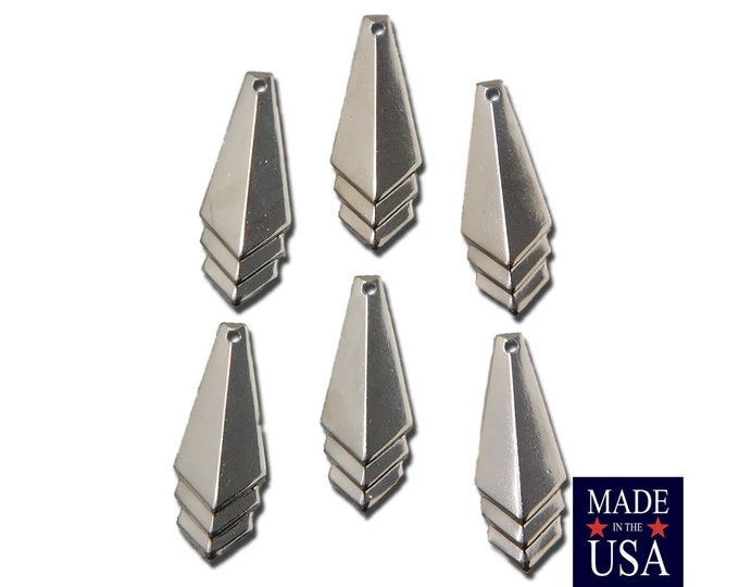 Silver Plated Layered Triangle Pendant Charm Drop SM (6) mtl065K