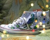 Wedding Hand Painted Converse - Peacock design