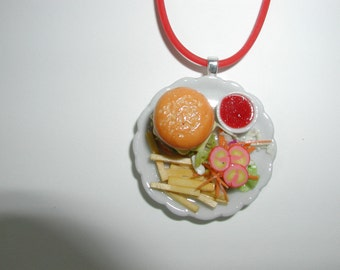 Cheeseburger and Fries on a Plate Geeky Necklace
