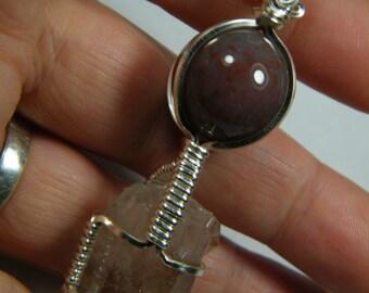 Pale Tangerine Quartz point with a Fancy Jasper sphere, pendant