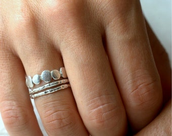 Sterling Silver Pebble and Raw Ring Set | Stacking Set | Nature Inspired Rings