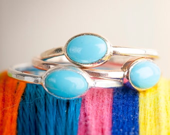 Sterling silver and Turquoise Ring| Stacking Rings | Nature Inspired Ring