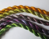 Purple, Green, Golden Yellow, Perle Collection of 5, Mixed Media, Textile Art,