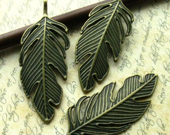 Bronze Feather Pendant - Set of 3 - Large Antique Bronze Feather Charm 60mm (BC0002)