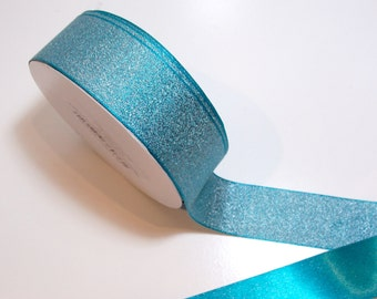 Teal Ribbon, Offray Luxe Mallard teal satin backed ribbon 1 1/2 inches wide x 10 yards