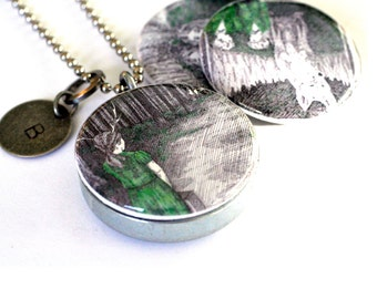 Pen and Ink Drawing Jewelry, Locket Necklace, Woodland Scenes, Deer, Antlers, Wolf, Coming Home, Magnetic Jewelry, StudioMME and Polarity
