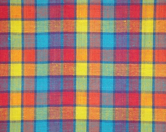 Cotton Fabric | Homespun Fabric | Plaid Fabric | Multi Color Plaid | 1 Yard