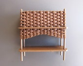 RESERVED FOR SHARON Dollhouse Miniature Dark Brown Wicker Planter One Inch Scale 1:12 Scale (2 @35 ea)