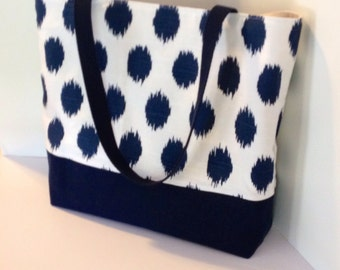 Ikat Dot Tote . Standard size . beach bag . Navy Blue Ikat Dot . polka dot tote . bridesmaid gift . teacher gift . wedding gift