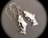 Recycled Silver Trout Earrings - pierced - non-pierced hoops