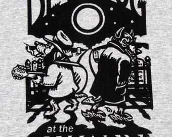 Men's T- shirt Guitar Dog and Devil  Music Blues Rock Fantasy