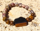 Jungle Cats - Picture Jasper, Leopardskin Jasper, Tiger's Eye Healing Gemstone Bracelet