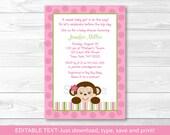 Cute Pink Monkey Baby Sho...