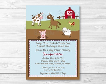 Farm Animal Baby Shower Invitation Printable