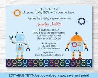 Robot Baby Shower Invitation / Baby Bots / INSTANT DOWNLOAD Editable PDF