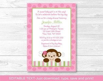 Cute Pink Monkey Baby Shower Invitation / Monkey Baby Shower Invite / Girl Monkey / Pink & Green / INSTANT DOWNLOAD Editable PDF