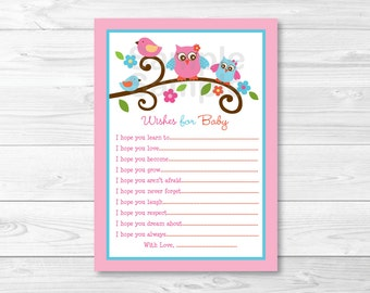 Owl Wishes for Baby Advice Card INSTANT DOWNLOAD