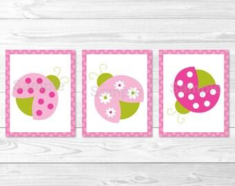 Ladybug Nursery Wall Art / Ladybug Nursery Art / Pink & Green Ladybug / Ladybug Wall Art / Baby Girl Nursery PRINTABLE Instant Download A376
