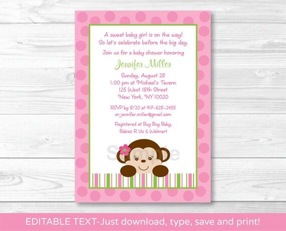 Cute pink monkey baby shower invitation monkey baby shower invite il570xn filmwisefo