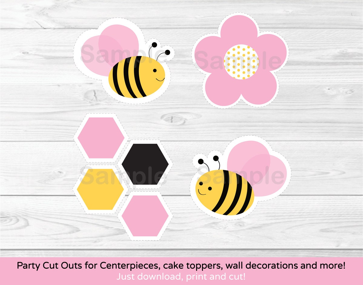 Pink bumble bee cut outs bumble bee baby shower pink bee for Baby shower decoration cutouts