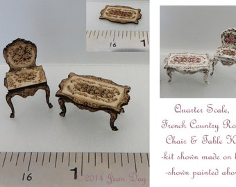 KIT in Quarter Scale, French Country Roses Laser Cut and Engraved, Table & Chair, 1/4 inch, 1:48,dollhouse mini, LC005